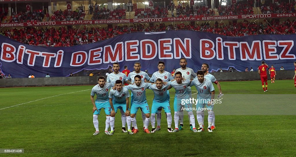 Players of Turkey pose for a photo during the friendly football match between Turkey and Montenegro at Antalya Ataturk Stadium in Antalya, Turkey on May 29, 2016.