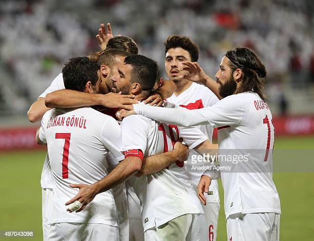 Players of Turkish national football team celebrate after scoring a goal during the friendly match between Qatar and Turkey at Abdullah bin Khalifa...