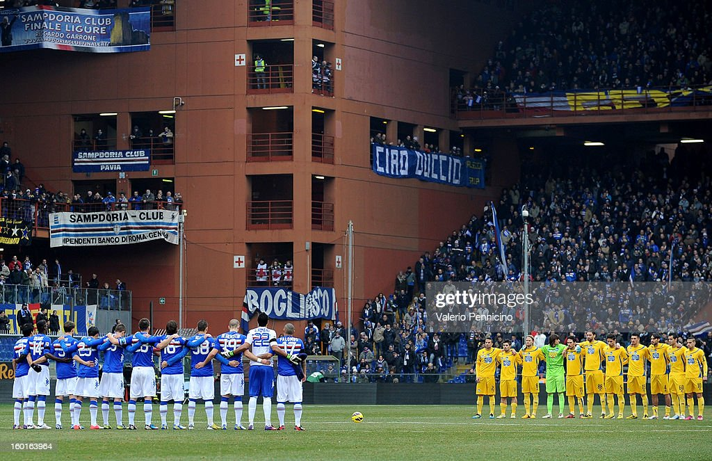 Players of UC Sampdoria and Pescara stand for a minute's silence for the late President Riccardo Garrone prior to the Serie A match between UC Sampdoria and Pescara at Stadio Luigi Ferraris on January 27, 2013 in Genoa, Italy.