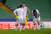 Players of Udinese Calcio show their dejection after the UEFA Europa League Group A match between Udinese Calcio and BSC Young Boys at Stadio Friuli...