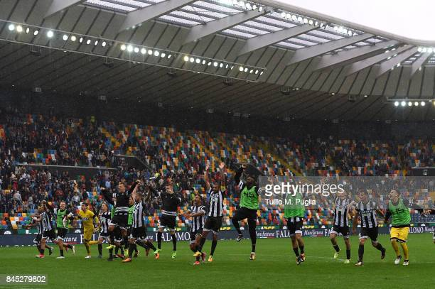 Players of Udinese celebrate after winning the Serie A match between Udinese Calcio and Genoa CFC at Stadio Friuli on September 10 2017 in Udine Italy