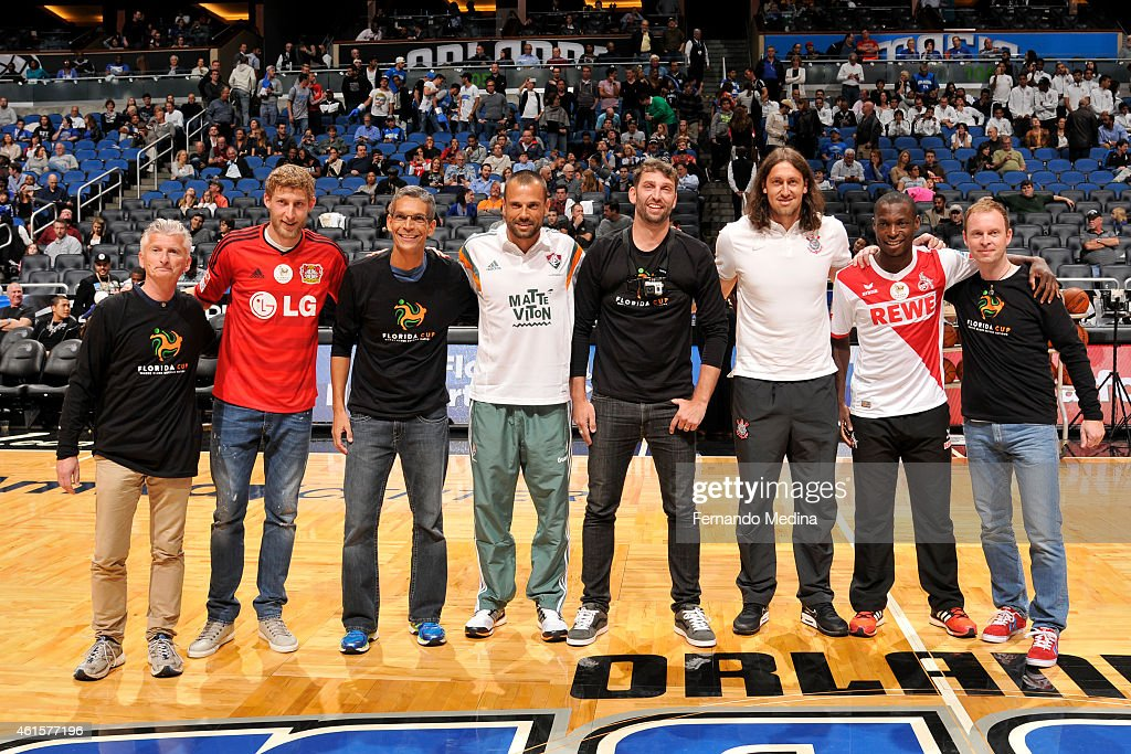 Players of UEFA Champions League club Bayer 04 Leverkusen, FC Koln, SC Corinthians Paulista and Fluminense FC attend the game for a halftime challenge between the teams during the game of the Houston Rockets and Orlando Magic on January 14, 2015 at Amway Center in Orlando, Florida.
