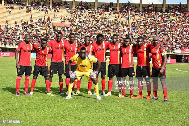 Players of Uganda National team pose for a photo prior to the 2018 World Cup qualifying Group E football match between Uganda and Congo at the...