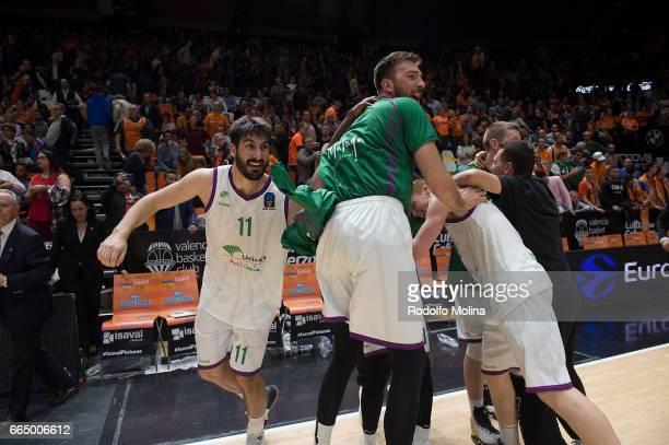 Players of Uncicaja Malga celebrates at the end of the 20162017 7Days Eurocup Finals Leg 3 Valencia Basket v Unicaja Malaga at Pabellon Fuente de San...