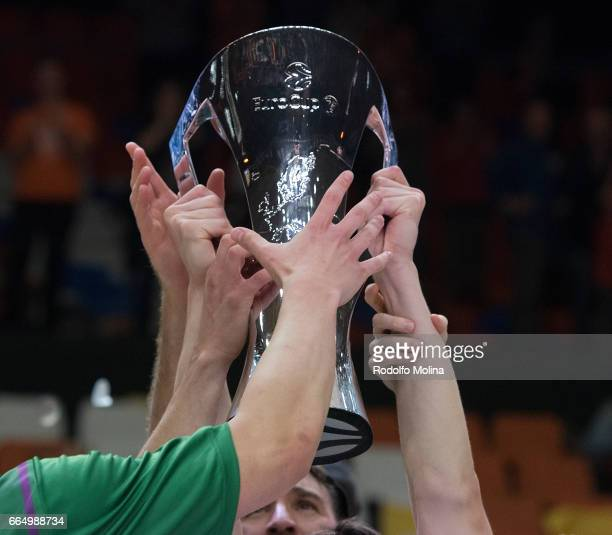 Players of Unicaja Malaga celebrates with Champion Trophy at the end of the 20162017 7Days Eurocup Finals Leg 3 Valencia Basket v Unicaja Malaga at...