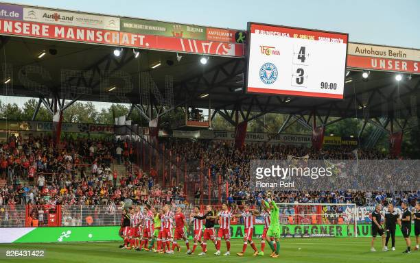 Players of Union Berlin celebrate the 43 win between Union Berlin and Kieler SV Holstein on august 4 2017 in Berlin Germany