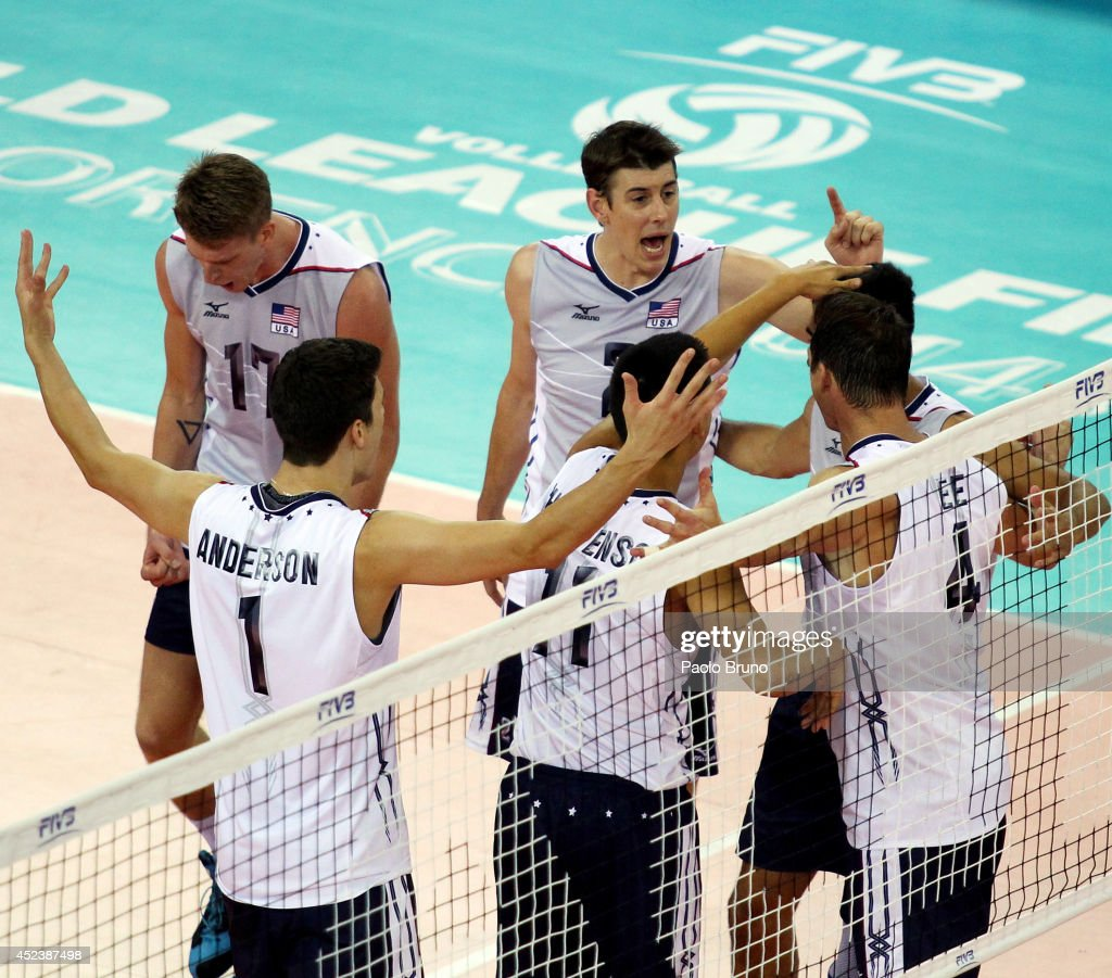 Players of United States celebrate during the FIVB World League Final Six semifinal match between Iran and United States at Mandela Forum on July 19, 2014 in Florence, Italy.