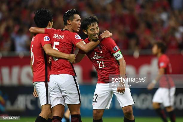 Players of Urawa Red Diamonds celebrate the win during the AFC Champions League quarter final second leg match between Urawa Red Diamonds and...