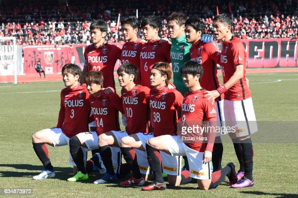 Players of Urawa Red Diamonds line up for team photos prior to the preseason friendly between Urawa Red Diamonds and FC Seoul at Urawa Komaba Stadium...