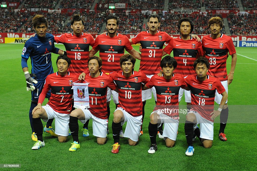 Players of Urawa Red Diamonds pose for photograph prior to the AFC Champions League Group H match between Urawa Red Diamonds and Pohang Steelers at the Saitama Stadium on May 3, 2016 in Saitama, Japan.