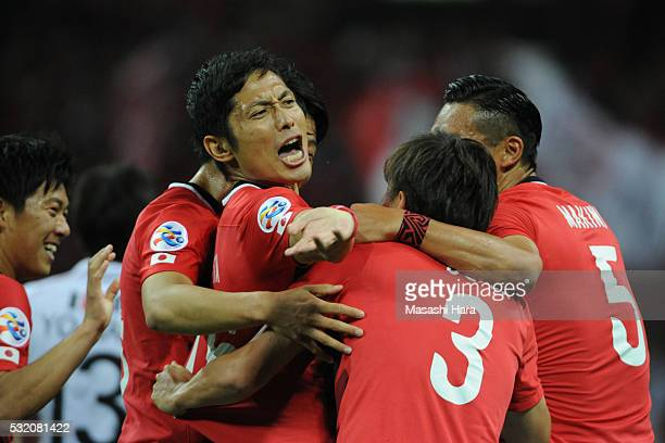 Players of Urrawa Red Diamonds celebrate the first goal during the AFC Champions League Round of 16 First Leg match between Urawa Red Diamonds and FC...