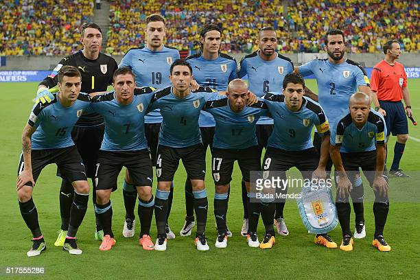 Players of Uruguay pose for photo during a match between Brazil and Uruguay as part of 2018 FIFA World Cup Russia Qualifiers at Arena Pernanbuco on...