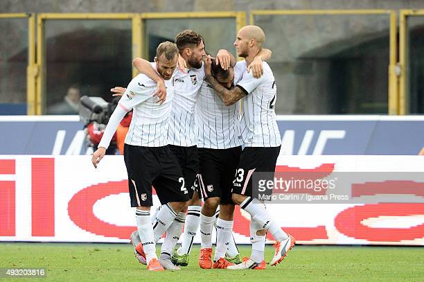Players of US Città di Palermo celebrate at the end of the Serie A match between Bologna FC and US Citta di Palermo at Stadio Renato Dall'Ara on...