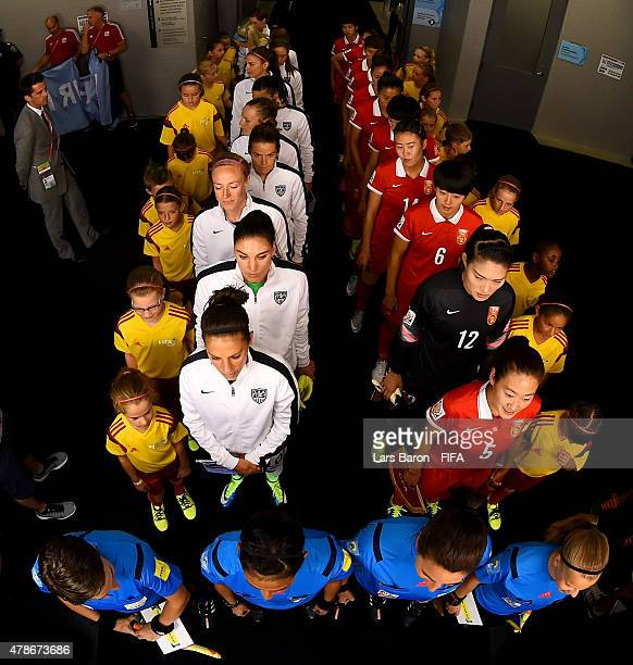 Players of USA and China are seen in the tunnel prior to the FIFA Women's World Cup 2015 Quarter Final match between China and United States at...