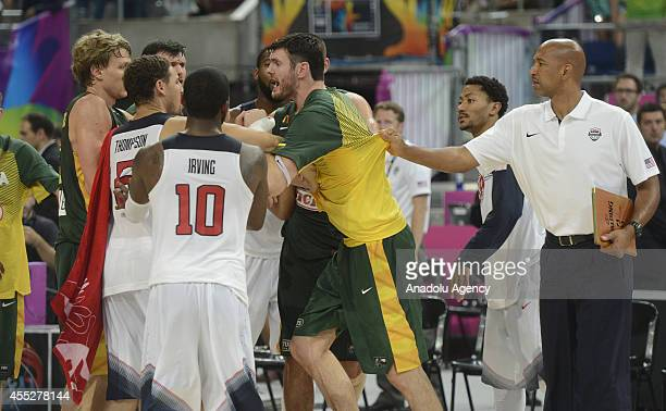 Players of USA and Lithuania reacts to each other after the 2014 FIBA World Basketball Championship SemiFinal basketball match between USA and...
