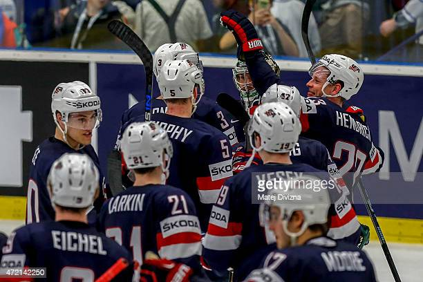 Players of USA celebrate after the IIHF World Championship group B match between Russia and USA at CEZ Arena on May 4 2015 in Ostrava Czech Republic