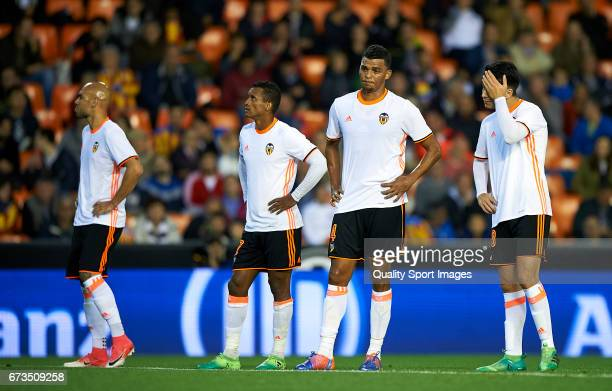 Players of Valencia reacts at the end of the La Liga match between Valencia CF and Real Sociedad de Futbol at Mestalla Stadium on April 26 2017 in...