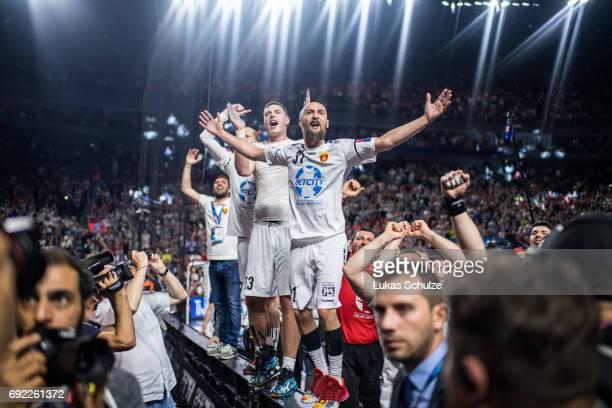 Players of Vardar celebrate after winning the VELUX EHF FINAL4 Final match between Paris SaintGermain Handball and HC Vardar at Lanxess Arena on June...