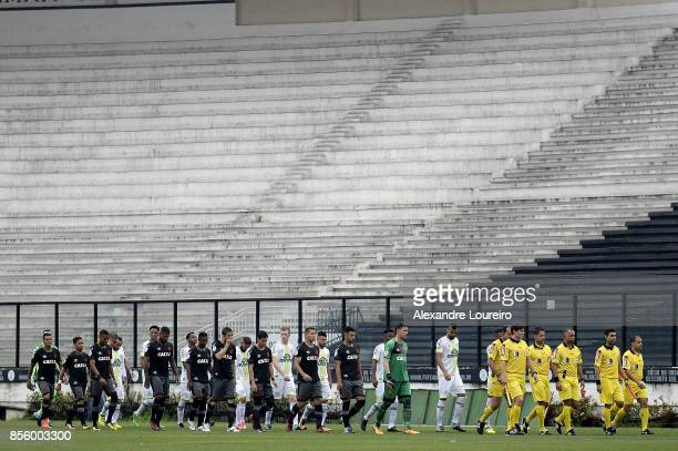 Players of Vasco da Gama and Chapecoense enter the field before during the match between Vasco da Gama and Chapecoense as part of Brasileirao Series...