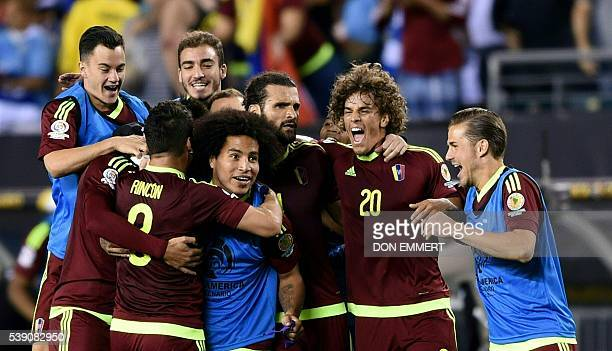 Players of Venezuela celebrate after defeating Uruguay in the Copa America Centenario football tournament in Philadelphia Pennsylvania United States...