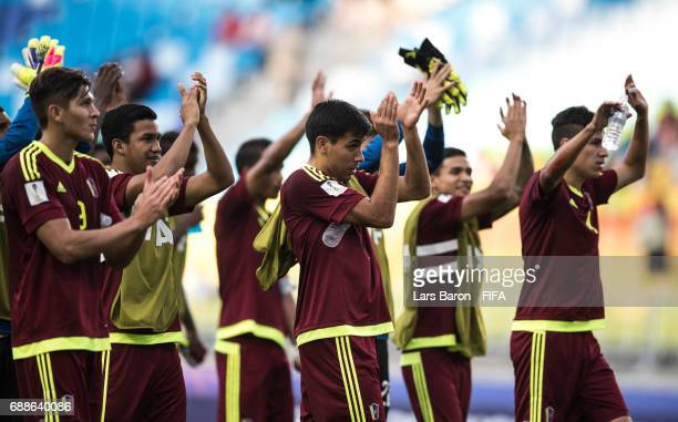 Players of Venezuela celebrate after winning the FIFA U20 World Cup Korea Republic 2017 group B match between Mexico and Venezuela at Suwon World Cup...