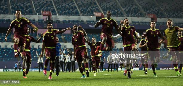 Players of Venezuela celebrate after winning the FIFA U20 World Cup Korea Republic 2017 Semi Final match between Uruguay and Venezuela at Daejeon...