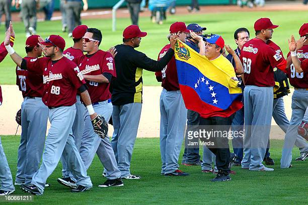 Players of Venezuela celebrate during the Caribbean Series 2013 at Sonora Stadium on February 03 2013 in Hermosillo Mexico