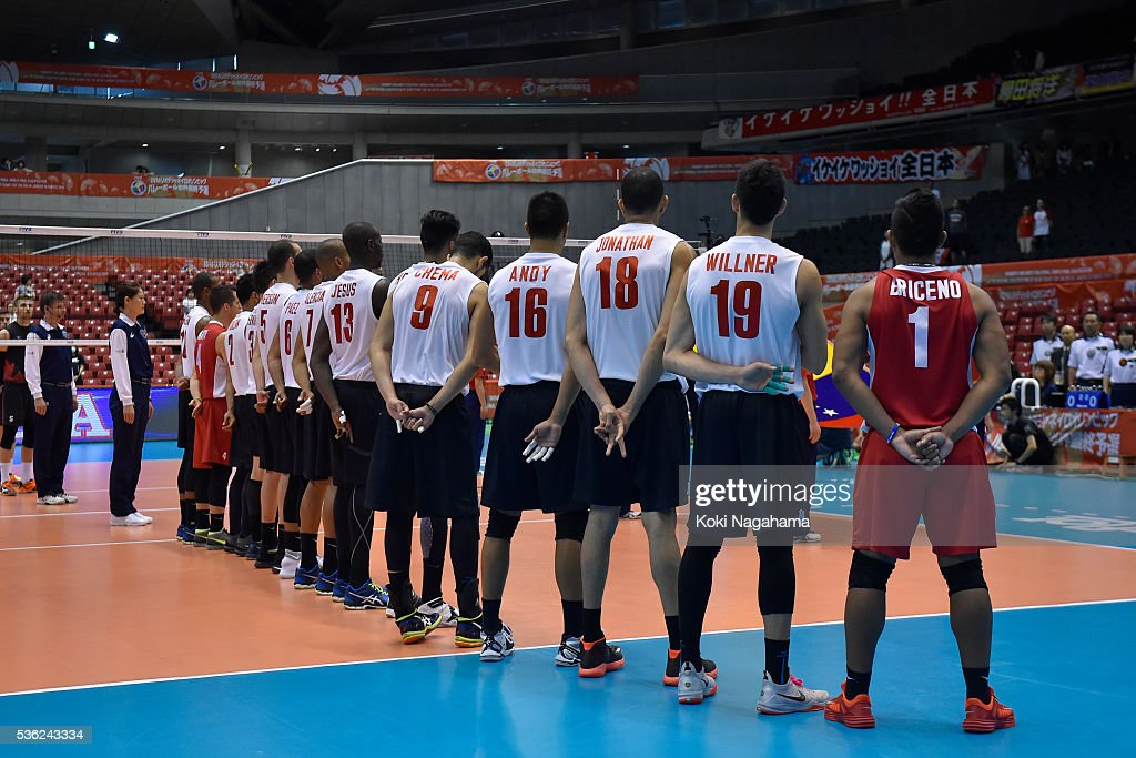 Players of Venezuela line up for their national anthem prior to the Men's World Olympic Qualification game between Venezuela and Canada at Tokyo Metropolitan Gymnasium on June 1, 2016 in Tokyo, Japan.