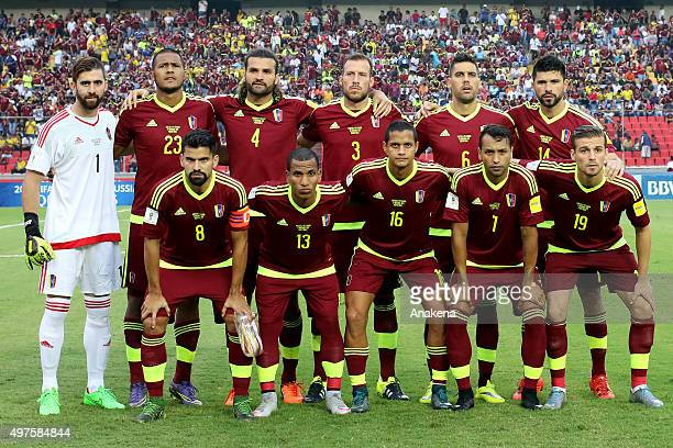 Players of Venezuela pose prior a match between Venezuela and Ecuador as part of FIFA 2018 World Cup Qualifiers at CTE Cachamay Stadium on November...