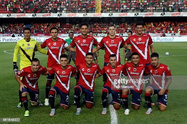 Players of Veracruz pose prior a 1st round match between Veracruz and Chivas as part of the Apertura 2015 Liga MX at Luis 'Pirata' Fuente Stadium on...