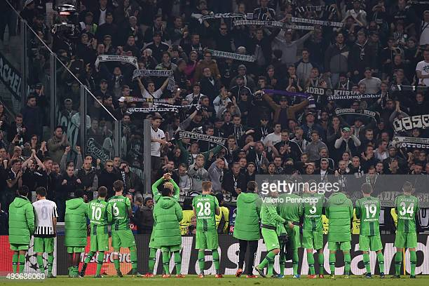 Players of VfL Borussia Monchengladbach salute the fans at the end of the UEFA Champions League group stage match between Juventus and VfL Borussia...