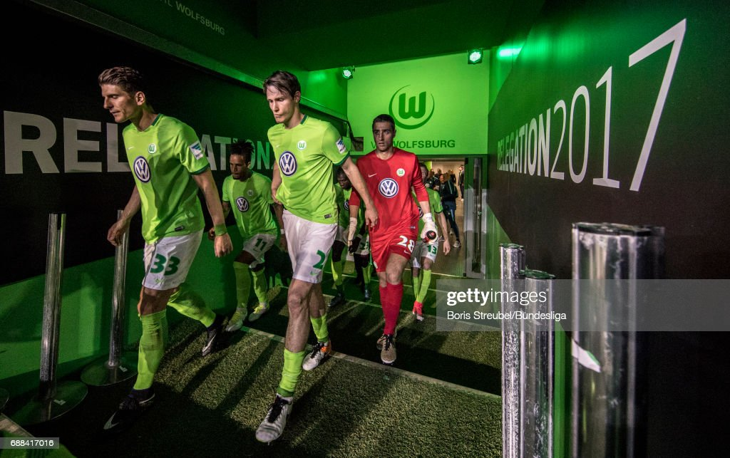 Players of VfL Wolfsburg enter the pitch for the second half during the Bundesliga Playoff Leg 1 match between VfL Wolfsburg and Eintracht Braunschweig at Volkswagen Arena on May 25, 2017 in Wolfsburg, Germany.