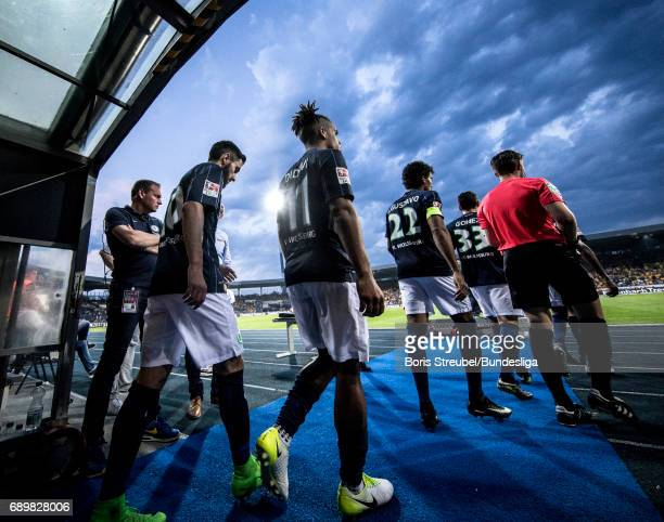 Players of VfL Wolfsburg enter the pitch for the second half during the Bundesliga Playoff Leg 2 match between Eintracht Braunschweig and VfL...