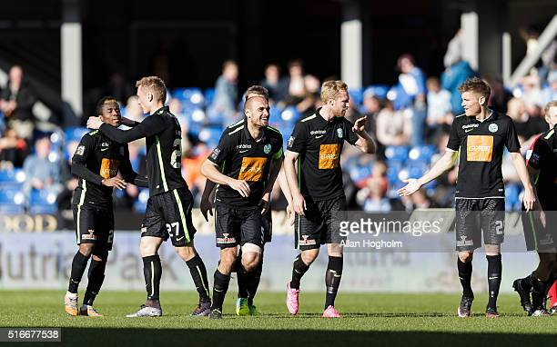 Players of Viborg FF celebrates after scoring their third goal during the Danish Alka Superliga match between Randers FC and Viborg FF at Bionutria...