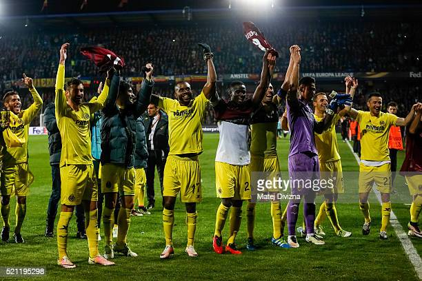 Players of Villareal celebrate team's victory after the UEFA Europa League Quarter Final second leg match between Sparta Prague and Villareal CF on...