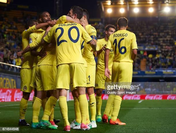 Players of Villarreal celebrates the first goal during the La Liga match between Villarreal CF and Real Sporting de Gijon at Estadio de la Ceramica...