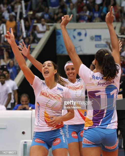Players of Volei Futuro celebrates a victory during a Women's Volleyball Super League Playoffs | Semifinals at Maracanazinho stadium on March 31 2012...
