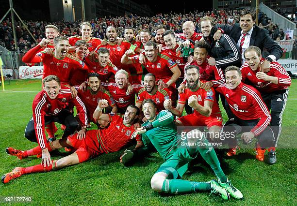 Players of Wales national team celebrate the Euro 2016 qualifying football match between Bosnia and Herzegovina and Wales at the Stadium Bilino Polje...