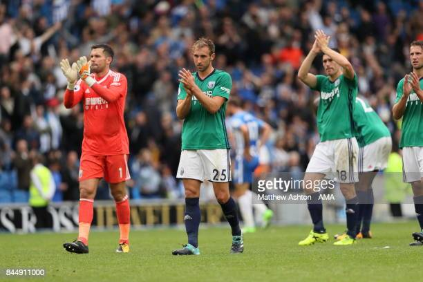 Players of West Bromwich Albion applaud the fans after the 31 defeat during the Premier League match between Brighton and Hove Albion and West...