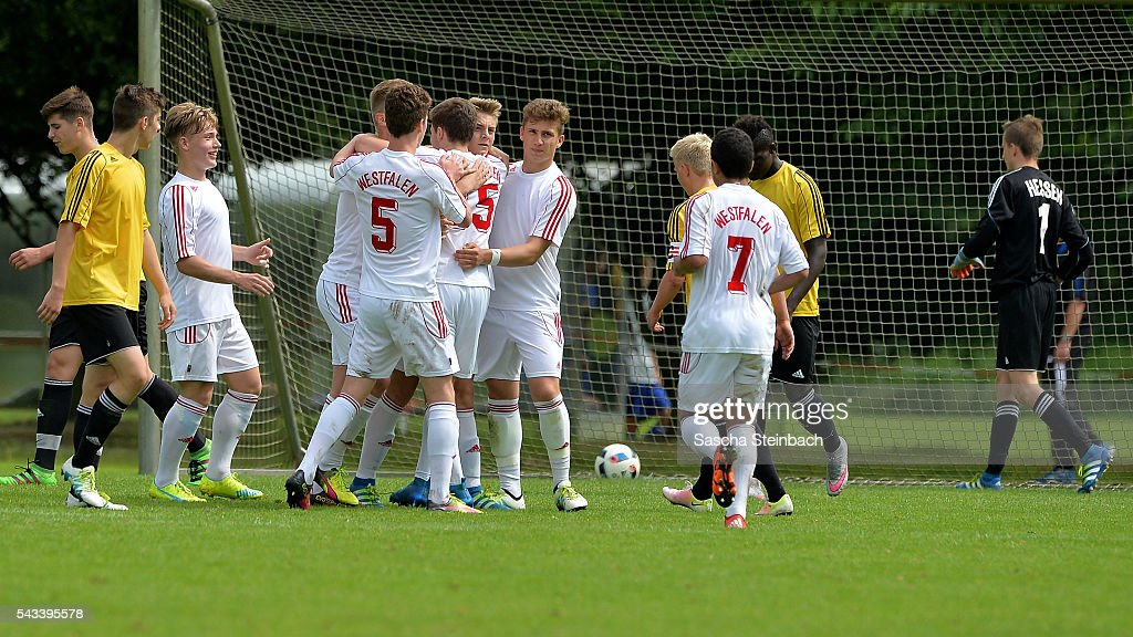 Players of Westfalen celebrate after scoring the opening goal during the U15 selection tournament at Sport School Wedau on June 28, 2016 in Duisburg, Germany.