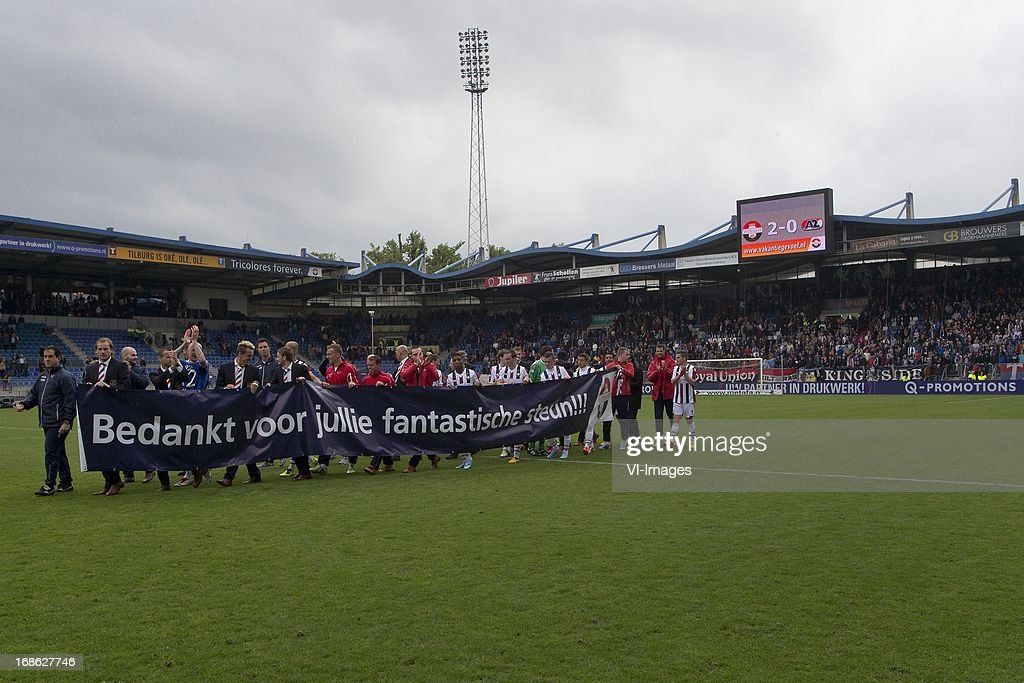 Players of Willem II thanks fans for support during the Dutch Eredivisie match between Willem II and AZ Alkmaar on May 12, 2013 at the Koning Willem II stadium in Tilburg, The Netherlands.
