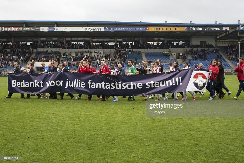 Players of Willem II thanks fans of Willem II during the Dutch Eredivisie match between Willem II and AZ Alkmaar on May 12, 2013 at the Koning Willem II stadium in Tilburg, The Netherlands.