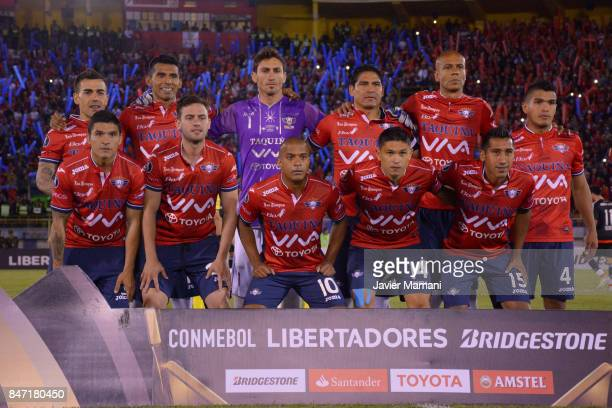 Players of Wilstermann pose for a team photo prior to a first leg match between Wilstermann and River Plate as part the quarter finals of Copa...