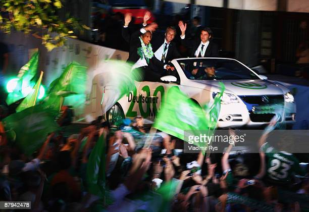 Players of Wolfsburg celebrate during the public welcome ceremony in the city of Wolfsburg to celebrate winning of the German Championship after the...