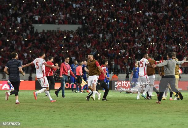 Players of Wydad Casablanca celebrate after winning 10 in the CAF African Champions League match against Al Ahly at the Stade Mohammed V in...