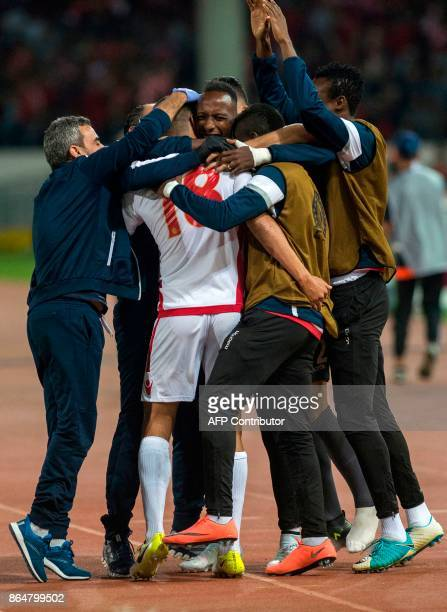 Players of Wydad Casablanca celebrates a goal against USM Alger during the CAF Champions league semifinal on October 21 at Mohamed VI stadium in...
