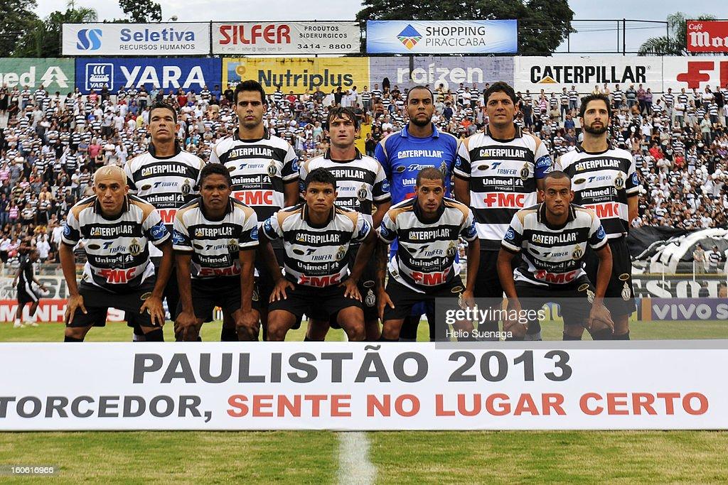 Players of XV de Piracicaba pose during the match between Palmeiras and XV de Piracicaba as part of Campeonato Paulista 2013 at Barão de Serra Negra Stadium on February 3, 2013 in Piracicaba, Brazil.