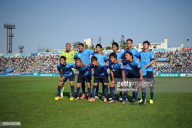 Players of Yokohama FC pose for photograph prior to the JLeague second division match between Yokohama FC and Cerezo Osaka at the Nippatsu Mitsuzawa...