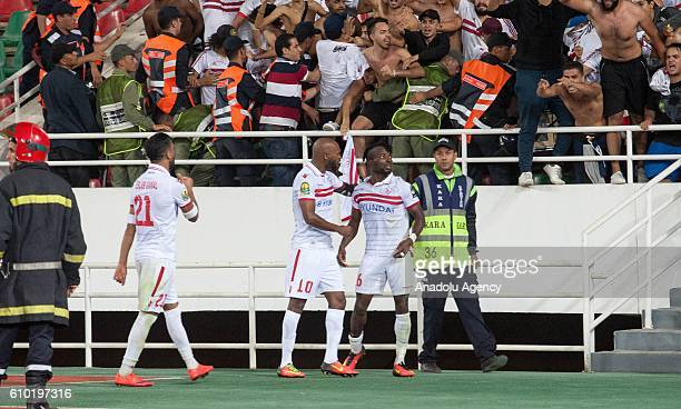 Players of Zamalek celebrate after scoring a goal during the semifinal match of CAF Champions League between Wydad Casablanca vs Zamalek at the...