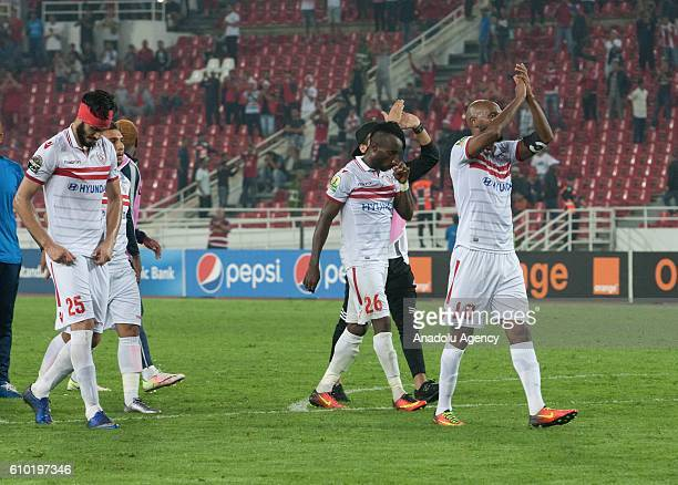 Players of Zamalek celebrate winning the semifinal match of CAF Champions League between Wydad Casablanca vs Zamalek at the Prince Moulay Abdellah...